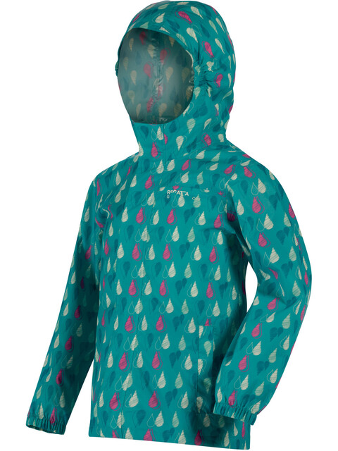 Regatta Printed Pack It Jacket Kids Waterproof aqua